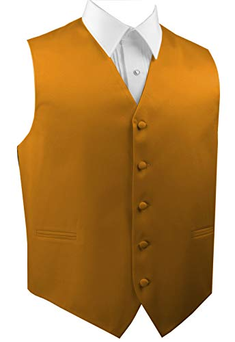 Italian Design Men's Formal Tuxedo Vest-Honey Gold-XS