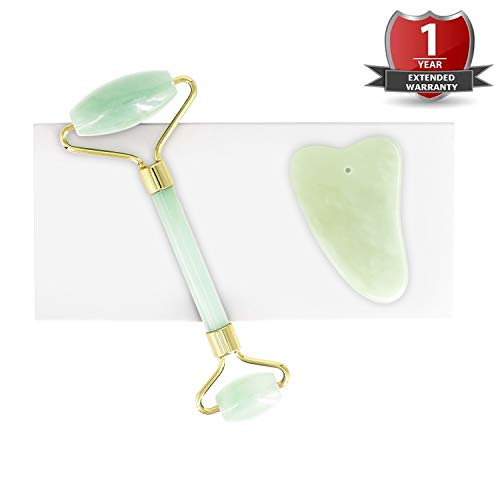Jade Roller for Face|Gua Sha Scraping Massager Tool|Anti Aging Puffiness Facial Skin Massager Treatment Therapy