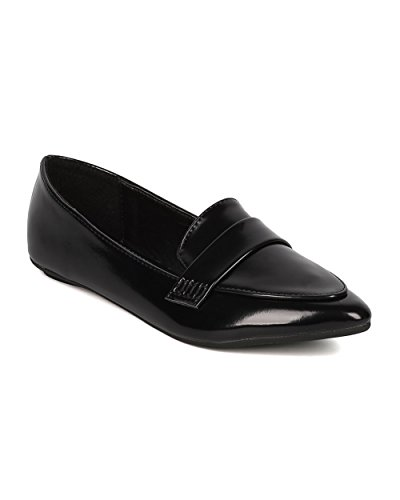Mocassino Donna Alrisco Lucido - Ufficio, Casual, Trendy - Slip On Mocassino - Gi60 Di Similpelle Nera