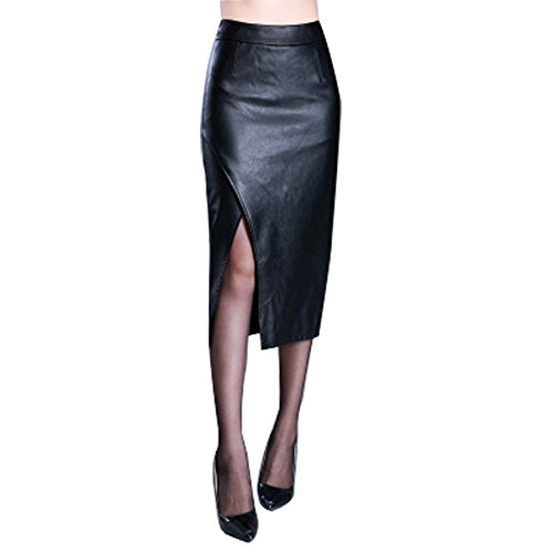 CoutureBridal Black Faux Leather Pencil Long Skirt Slit Side Zip Calf Length Skirt For Womens (Zip Skirt Leather Side)