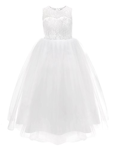 iEFiEL Kids Girls Floral Lace Fluffy Tulle Wedding Flower Dress Holly Communion Gown White 2