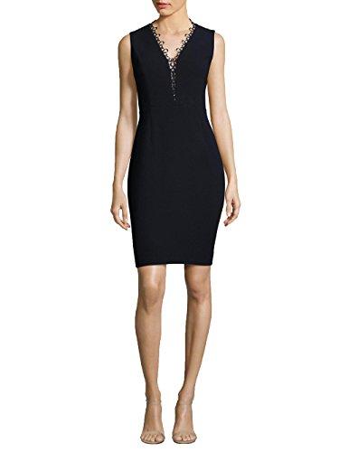Elie Tahari Women's Saylah Lace-Trim Sheath Dress (6, Navy) (Trimmed Dress Sheath)