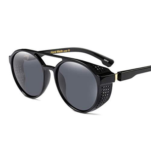 DSGER&SGLS Steampunk Sunglasses Unisex Side Mesh Round Frame Sun Protect Glasses Black Yellow Shades 02]()