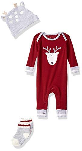 Petit Lem Holiday Baby Pajama Set, Comfy, Cute and Cozy Softness, Burgundy, 3M