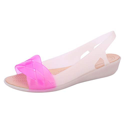 LOVOZO Womens Beach Elly Shoes Flat Sandals Soft Colors Candy Summer Casual Sandals 2019 New Hot Pink