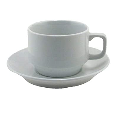 BIA Cordon Bleu Bistro Cup and Saucer, Set of 4, White