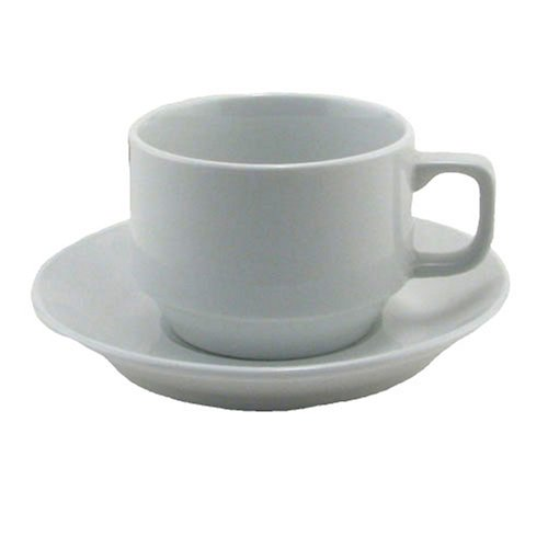 BIA Cordon Bleu Bistro Cup and Saucer, Set of 4, White