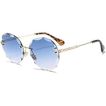 e000cc3b49b85 Kasuki 2018 Luxury Transparent Gradient Rimless Sunglasses Women Brand  Designer Sun Glasses Gradient Shades UV400 Eyewear - (Lenses Color  C02  Blue Lens)