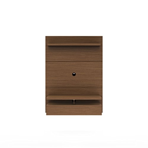 "Manhattan Comfort City 1.2 Collection Floating Entertainment Center with TV Mount Wall Theater Display, 47.2"" L  x 14.9"" D  x 63.4"" H, Nut Brown"