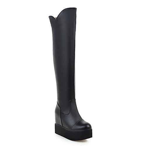Allhqfashion Womens High-top Pull Op Zachte Lederen Hoge Hakken Ronde Closed-teen Boots, Zwart, 37