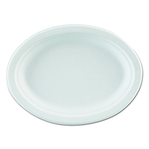 Chinet VOGUE 7.5 Inch by 10 Inch Classic White Premium Strength Molded Fiber Oval Paper Platter 125-Pack (Case of 4)