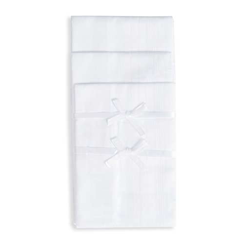 Selected Hanky Pure Cotton Men's Handkerchiefs with Hem White 12 Pieces for Father's Day Gift