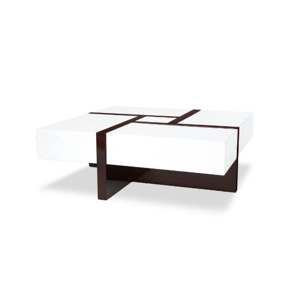Awe Inspiring Zuri Furniture Mcintosh High Gloss Coffee Table With Storage White Square Short Links Chair Design For Home Short Linksinfo