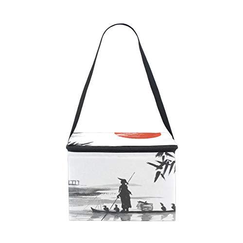 hombre enfriador con almuerzo japonesa picnic hombro barco para Bolsa pintar de de correa fiambrera qwT05cXI