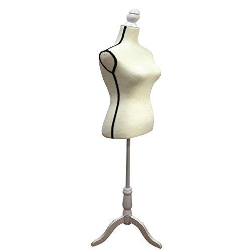 Mefeir Fashion Adjust Height Female Mannequin, Portable Women Pinnable Black Pattern Glass Fiber Reinforced Plastic Dress Model, Torso Dress Clothing Display Body w/Wooden Tripod Base - Glasses Models Female