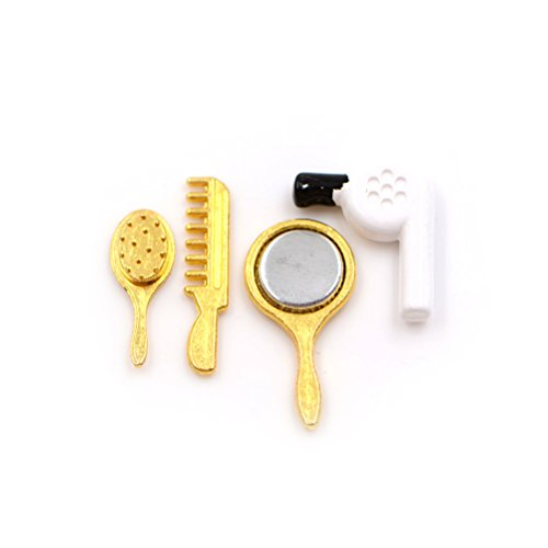 Dengguoli 4 PCS 1:12 Scale Dollhouse Miniature Hair Drier Set Include Comb Mirror Drier Make Up Bathroom Accessories Decor