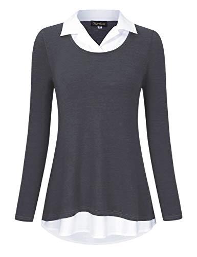 Blouse Collared (GloryStar Women's Long Sleeve Contrast Collared Shirts Patchwork Work Blouse Tunics Tops Dark Grey 2XL)
