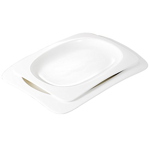 Ivory Rectangular Platter (Malacasa, Series Rosana, 2-Piece Ivory White Porcelain Large Serving Platters Tray with 11