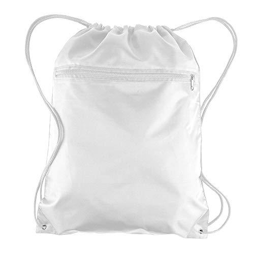 BagzDepot (12 Pack) Promotional Polyester Drawstring Backpack Sack Bag (WHITE)