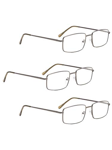 READING GLASSES 3 pack Large Metal Readers for Men (Gunmetal, 1.25)