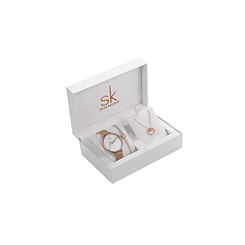 SK Shengke Mesh Band Womens Diamond Watches Set with Necklace Bracelet Wrist Watches Set for Women Female Girl Ladies Wrist Quartz Watches Set with Jewelry -