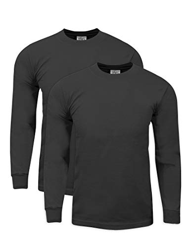 MHL22_L Max Heavy Weight Cotton Long Sleeve T-Shirt D.Grey L 2pk by Shaka