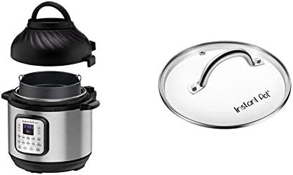 Instant Pot Duo Crisp Pressure Cooker 11 in 1, 8 Qt with Air Fryer, Roast, Bake, Dehydrate and more & Genuine Instant Pot Tempered Glass lid, Clear 10 Inch (26 cm) 8 Quart