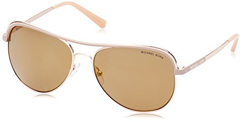Michael Kors MK1012 11072T Pink / Gold Vivianna I Aviator Sunglasses Polarised (Sunglasses For Polarised Women)