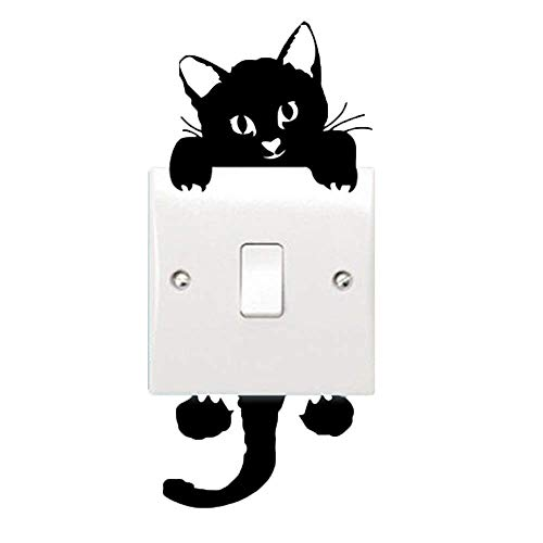 Alicemall Cute Black Cat Light Switch Removable Sticker Funny PVC Removable Wall Sticker Cartoon Wall Decal for Living Room, 14cm x 6 cm ()