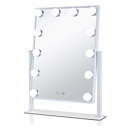 Aimee_JL Hollywood Vanity Mirror, HD Makeup Cosmetic Mirror with Lights Desktop LED Mirror With12 Big Bulbs Touch Screen Adjustbale Brightness The Same Mirror as The