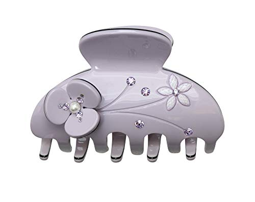 (Faship Elegant Lavender Floral Art Decor Hair Claws Made With Swarovski Crystal)