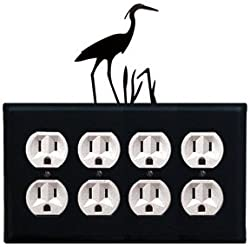 Eoooo-133 Loon Quad Outlet Electric Wall Plate With Silhouette