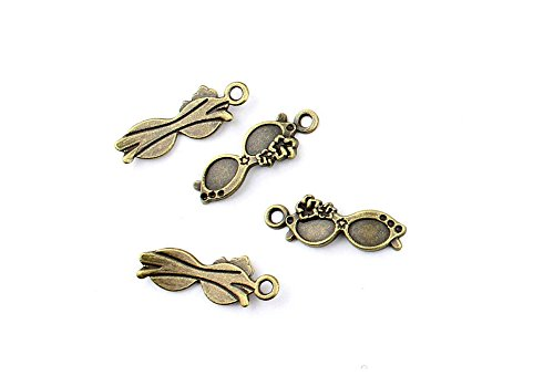Price per 60 Pieces Jewelry Making Charms EIAA0 Sunglasses Pendant Ancient Bronze Findings Craft Supplies Bulk - Sunglasses Ancient