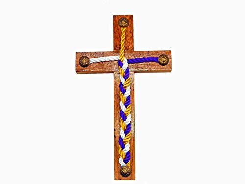 Rustic Wedding Cross Wood Jesus Wall Art Cord Of Three Strands - Three Strand Handcrafted