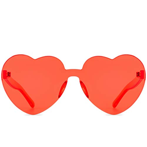 One Piece Heart Shaped Rimless Sunglasses Transparent Candy Color Eyewear (Coral)