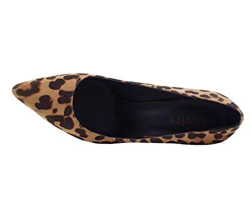 Womens Heel Pumps Lovirs Wedding Slip Toe High Basic Pointed Shoes on Party Stiletto Leopard Suede wqId4I1
