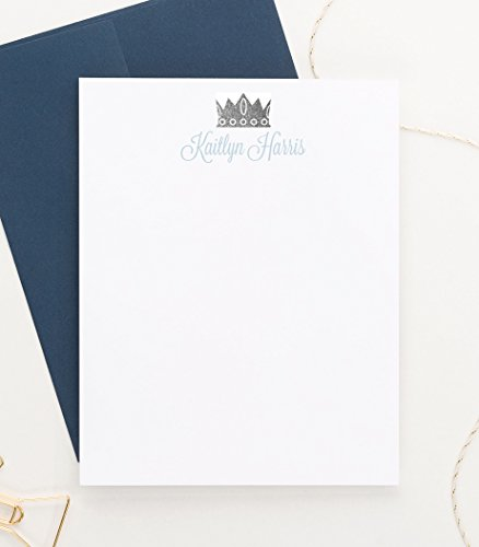 Prince Note Cards for Boys, Baby Shower Thank You Cards, Baby Boy Stationery, Your Choice of Colors, Set of 10 Flat Note Cards and Envelopes ()