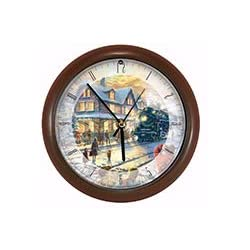 Mark Feldstein Wall Clock AA Alkaline Eight Inch Thomas Kinkade All Aboard For Christmas With Brown Frame