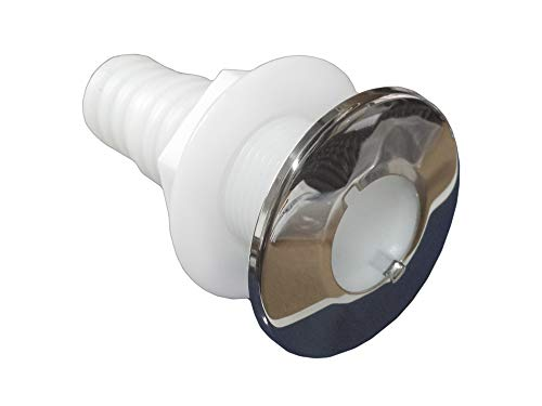 "Five Oceans White Nylon/Stainless Steel Thru-Hulls w/stud for hose, 1"" FO-2556 primary"