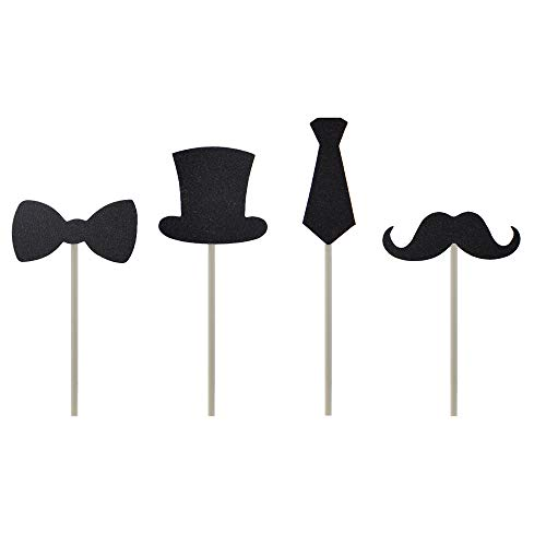HZOnline Cupcake Toppers Mini Black Bowtie Mustache Hat Neckcloth Adult ceremony Birthday Celebration Decorations DIY Home Baby Shower Theme Party Food Fruit Cake Picks for Decor(24PCS)]()