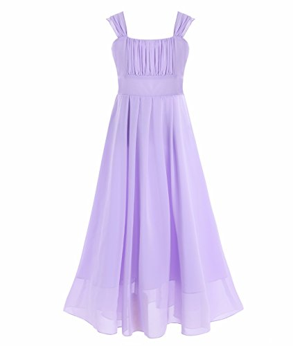 iEFiEL Big Girls Ruched Bodice Chiffon Long Dress Junior Bridesmaid Gown Lavender 10