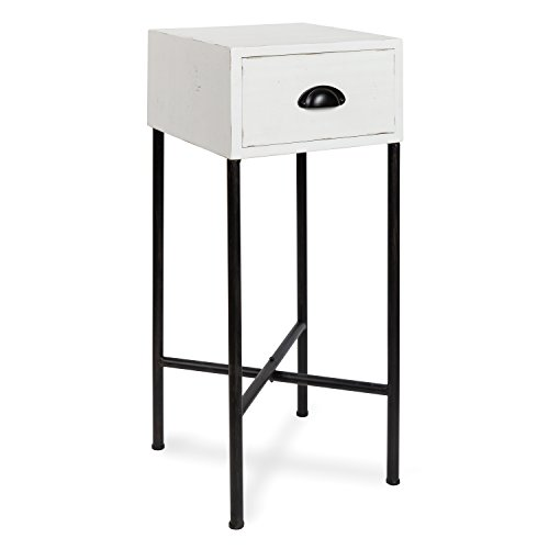 Kate and Laurel Decklyn Wood Side Accent Table with Drawer, White