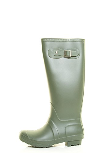 Forever Link Womens Round Toe Waterproof Mid Calf Pull On Snow Rain Boot Olive otviSnk