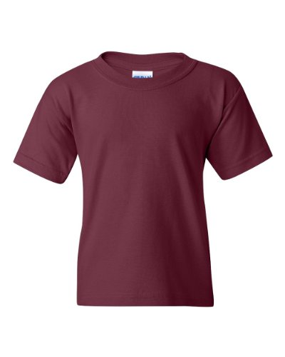 Trendy Youth T-shirts (Gildan 5000B - Classic Fit Youth T-shirt Heavy Cotton - First Quality - Maroon - X-Large)