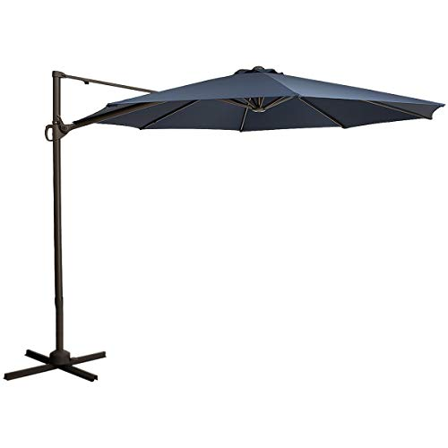 TAGI 10 feet Square Hanging Outdoor Umbrella, Eccentric Patio Umbrella, Infinite tilt, 8 Iron Ribs, rotatable, Navy Blue