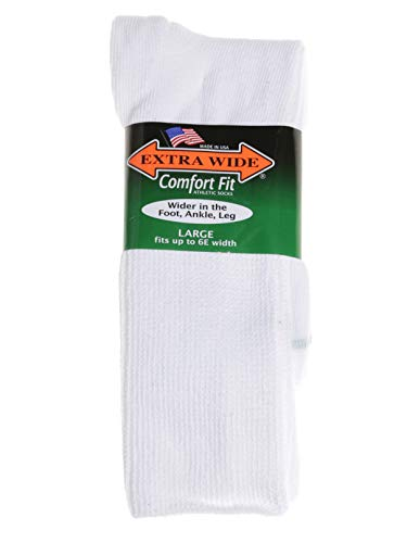 Extra-Wide Sock Company King Size Mens Comfort Fit Athletic Crew Socks, White, Large