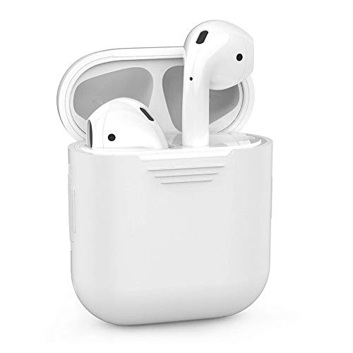 ZALU Compatible for AirPods Case Protective Silicone Cover and Skin for AirPods Charging Case 2 & 1 [Front LED not Visible] [Wireless Rechargeable] (White)