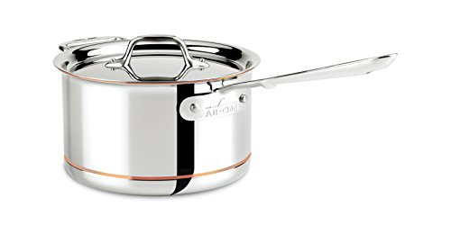 Quart Aluminum Double Boiler - All-Clad 6204 SS Copper Core 5-Ply Bonded Dishwasher Safe Saucepan with Lid/Cookware,  4-Quart, Silver