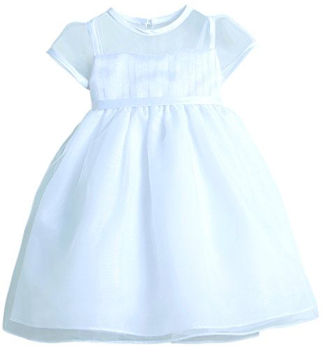 Baby Girls' Sweet Pleated Organza Top with Sweetheart Neckline white size XL