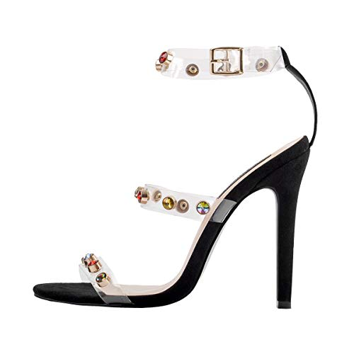 Onlymaker Women's Ankle Strap Stiletto Open Toe Clear Sandals Rhinestones Triple Strappy High Heel Party Wending Dress Evening Shoes 12 M US - Stiletto Clear Rhinestone